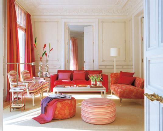 Decora??o de interiores: sala a vermelho, beje e branco ...
