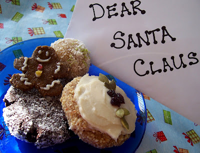 Plate full of cookies with sign that read Dear Santa Claus