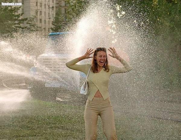 A lady in rain