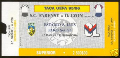 Bilhete do jogo Farense-Lyon, Taça UEFA época 1995/96