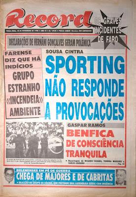 Os confrontos num Farense-Porto de 1990