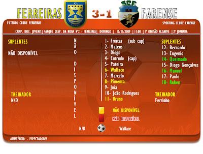Campeonato Juvenis | Ferreiras 3-1 Farense  | 3ª Jornada