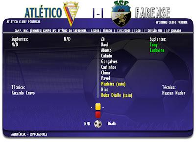 Ficha de Jogo  Atlético CP 1-1 Farense