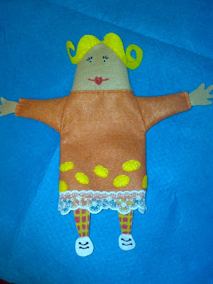 Felt Hand Puppet blond girl orange dress
