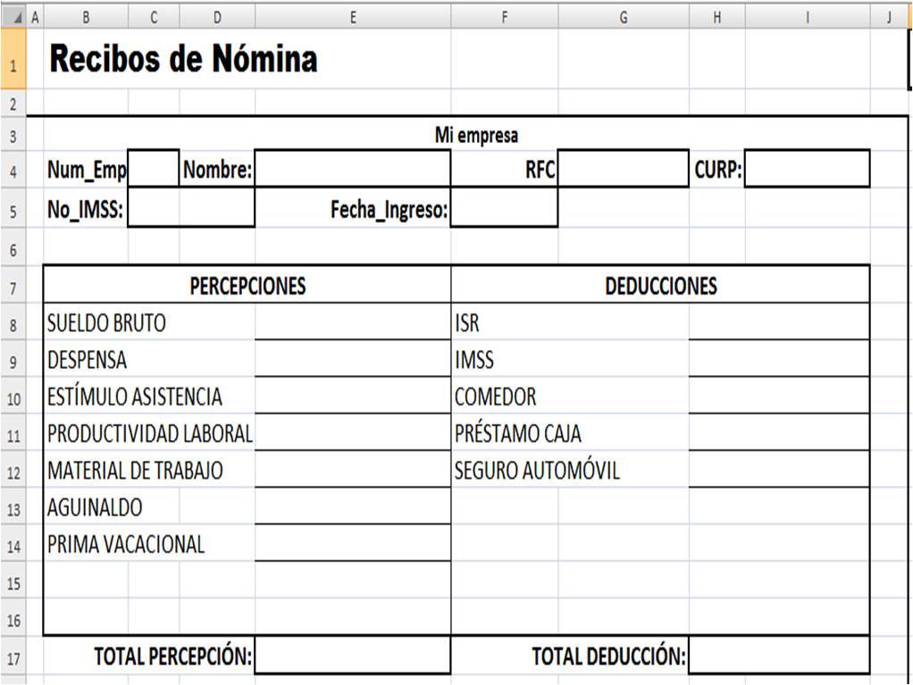 Formato Nomina Semanal Excel