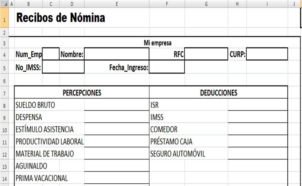 sistema de n mina empresarial 2o examen parcial copia ForRecibo De Nomina En Word