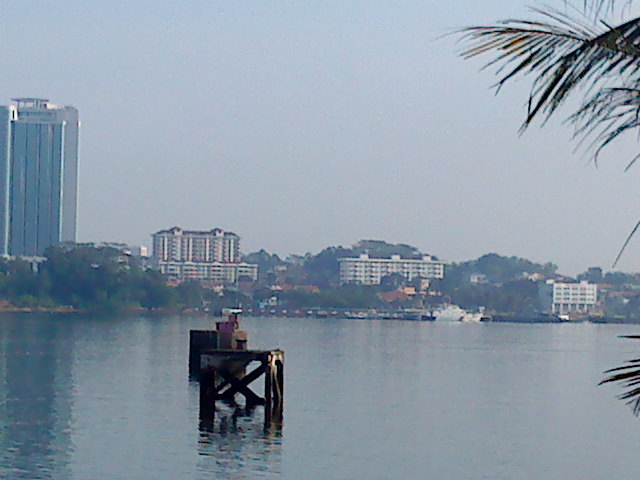 View from Woodlands Waterfront: Across are the buildings in Johore Bahru.