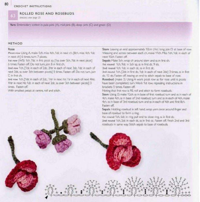 Роза букет крючком схема