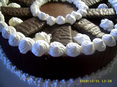 Tort de ciocolata umplut cu menta