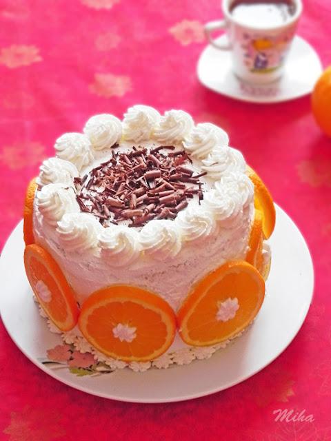 Tort cu mousse de portocale