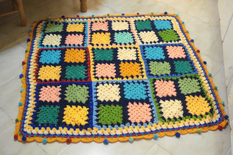 Tienda cosas de pipi mantita crochet de colores - Mantas de lana hechas a mano ...
