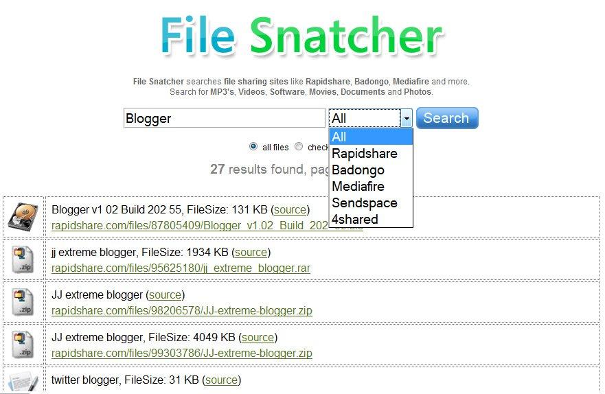 Busca archivos en Rapidshare, Badongo, Mediafire, etc.