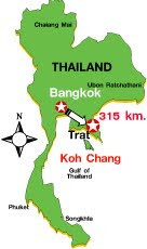 Map of Trat Province, Thailand