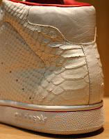 Adidas Stan Smith Snakeskin Distressed snake skin white red high boot sneaker heel rear back view