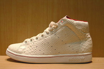 Adidas Stan Smith Snakeskin Distressed snake skin white red high boot sneaker side view