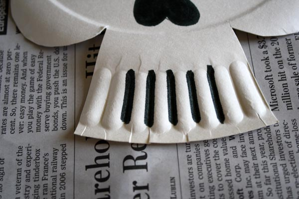 Next up are the eyes and nose of your calavera. You can use a black marker or paint or you can have your wee ones cut shapes from black paper. & scrumdilly-do!: Make Paper Plate Calaveras Masks!
