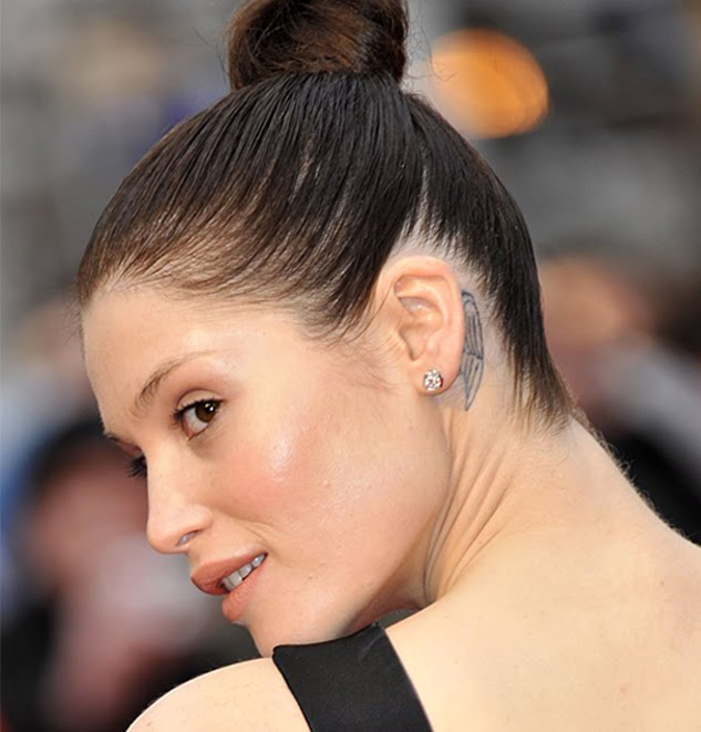 Gemma Arterton Behind Ear Tattoo