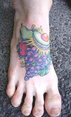 fruit tattoo on foot
