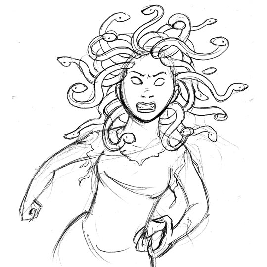 easy drawing of medusa head sketch coloring page