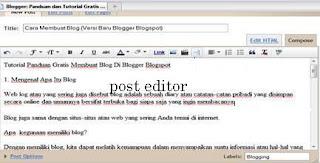 membuat posting atau entri baru di blogger blogspot