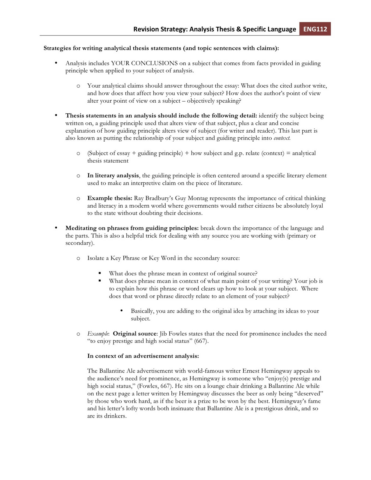 what are key concepts in writing a thesis statement