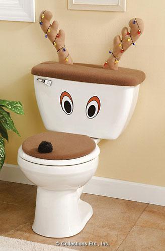 Juego De Baño Santa Tapandose Los Ojos:Reindeer Toilet