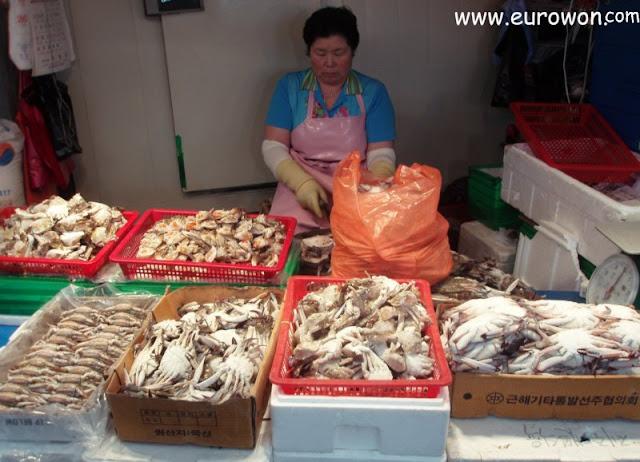 Señora coreana vendiendo cangrejos en la isla Jejudo