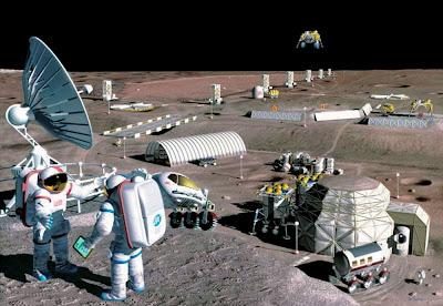 Representación artística de una base lunar (ESA)
