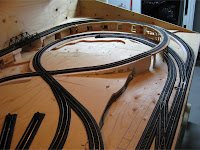 Completed track on right half of layout