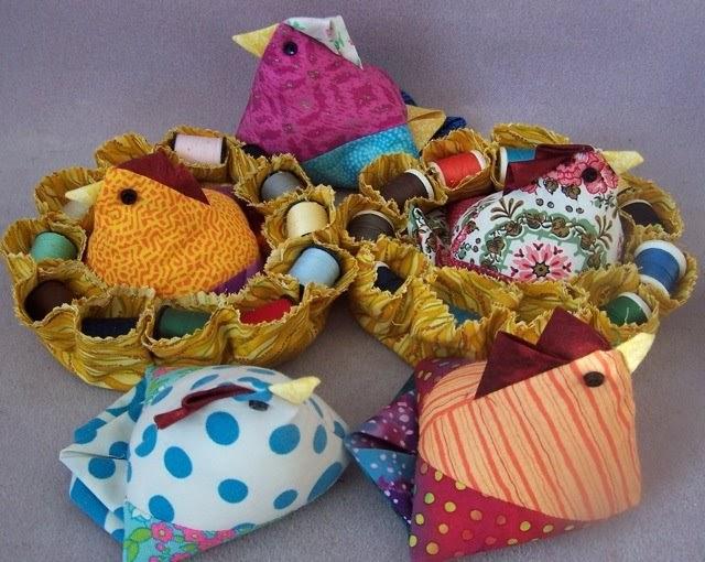 Steel Scraps Chicken Pincushions With Thread Caddy Nests
