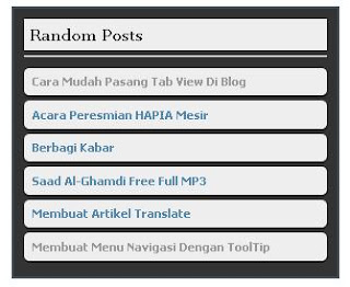 Membuat Widget Random Post Di Blog