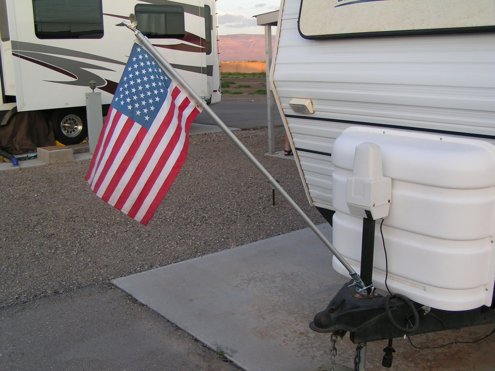 Lovin Our Life New Flag on the Travel Trailer