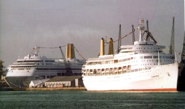 ORIANA and CANBERRA in Southampton