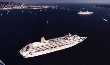ORIANA and CANBERRA anchored off Cannes