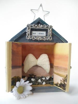 mixed media shrine spirit house by artist retreat leader bronwyn simons