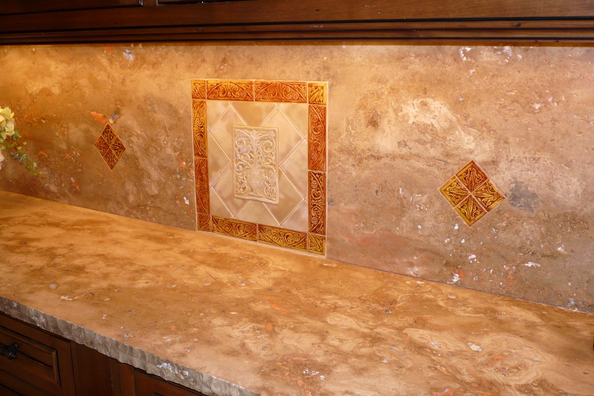 Modern Kitchen Stone Backsplash rock tile backsplash