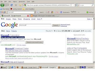 Snap Shot for Google Result on Keyword Microsoft