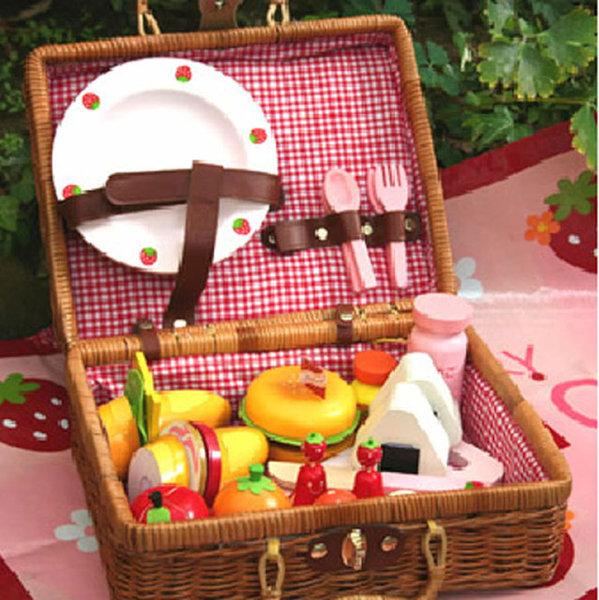 Wooden Picnic Basket Set : Baby children s toys huiwearn kids store