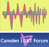 logos of the Camden Community Radio and the Camden LGBT Forum