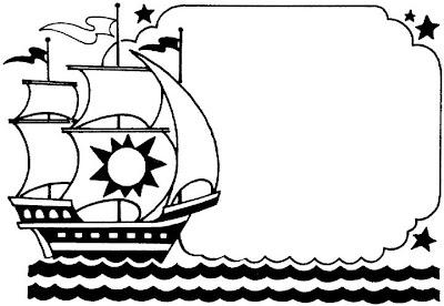 Colorear carabelas Cristóbal Colón