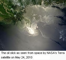 Deepwater Horizon oil spill as seen from space by NASA's Terra satellite on May 24, 2010