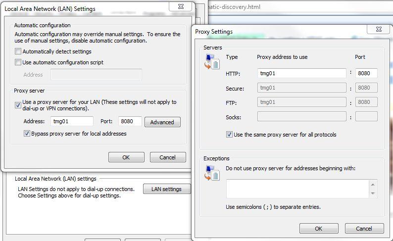 automatic proxy configuration