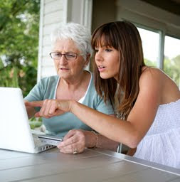 Women on computer establish credit with joint account