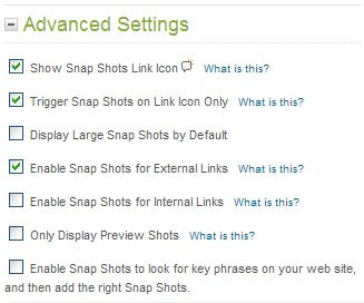 SnapShots: Advanced Settings