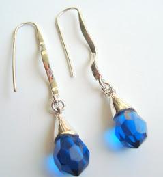 Aretes Gotas Cristal Azul Francia
