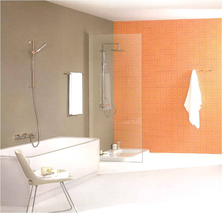 decoracao de interiores paredes pintadas:decoracao-de-casas-de-banho-ambiente-banheira-e-duche-cor-de-laranja