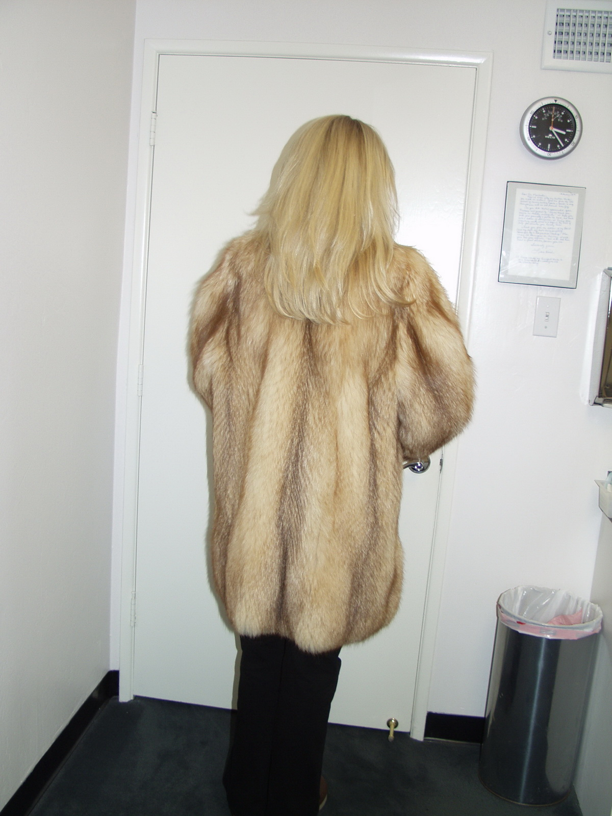 image Fur coat teen hot amateur in park alone
