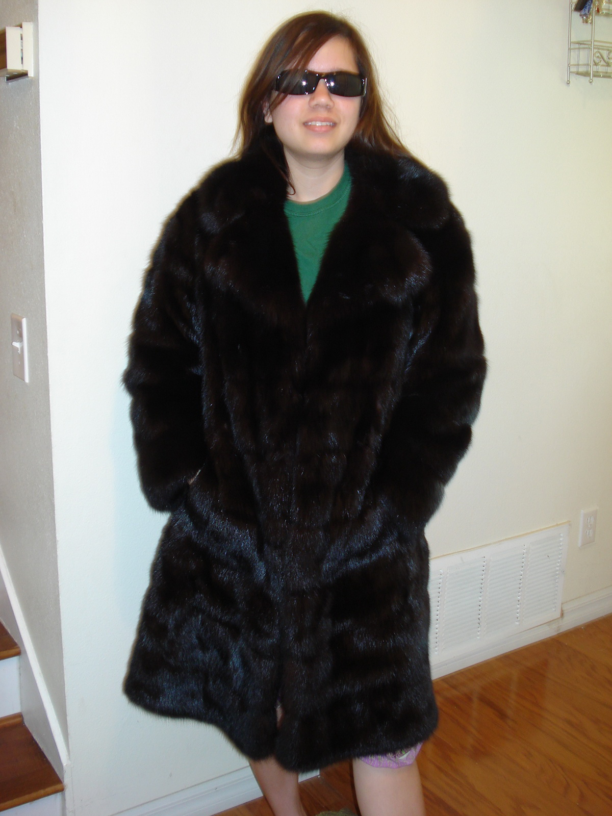 cute oriental girls in fur coats