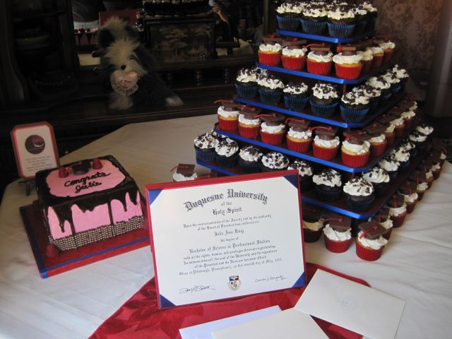 college graduation cakes. She ordered 150 cupcakes and a