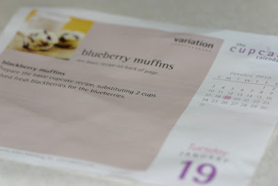 Desktop calendar recipe for blueberry muffins